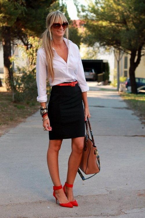 белая рубашка и каблук