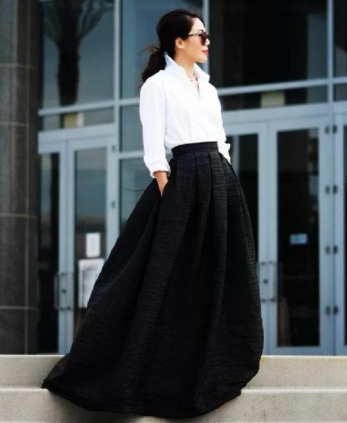 Черная юбка карандаш с белой рубашкой