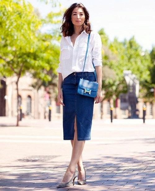 джинсовая юбка карандаш с белой рубашкой