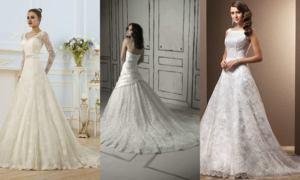 svadebnoe plate a silueht kruzhevnoe so shlejfom
